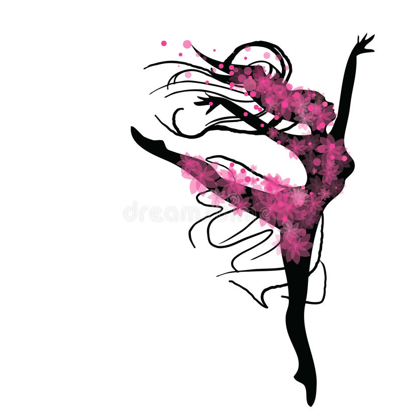 dancing woman in black and pink colours stock vector illustration