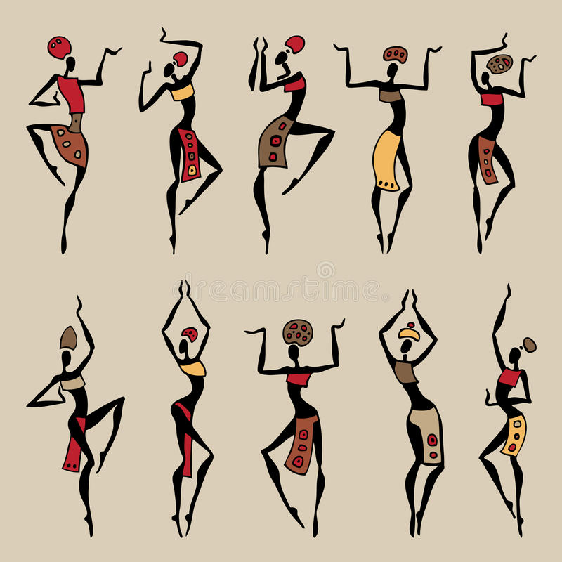 Dancing woman in ethnic style. vector illustration