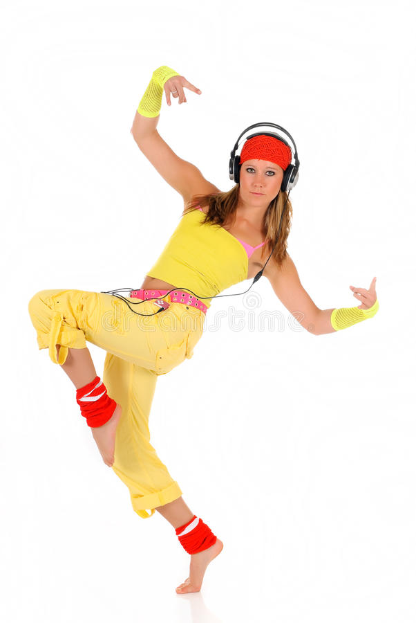 Download Dancing woman headset stock image. Image of background - 10835017