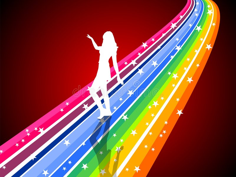 Download Dancing woman on a rainbow stock illustration. Illustration of female - 5261494