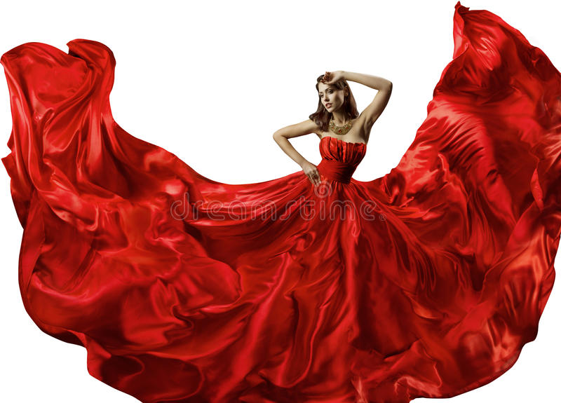 Dancing Woman in Red Dress, Fashion Model Dance Silk Ball Gown. Dancing Woman in Red Dress, Fashion Model Dance in Silk Ball Gown, Waving Flowing Fabric over royalty free stock image