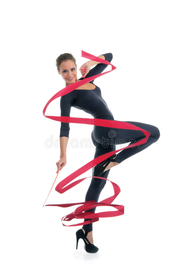 Download Dancing Woman With Red Ribbon Stock Image - Image of happiness, gymnastics: 20139665