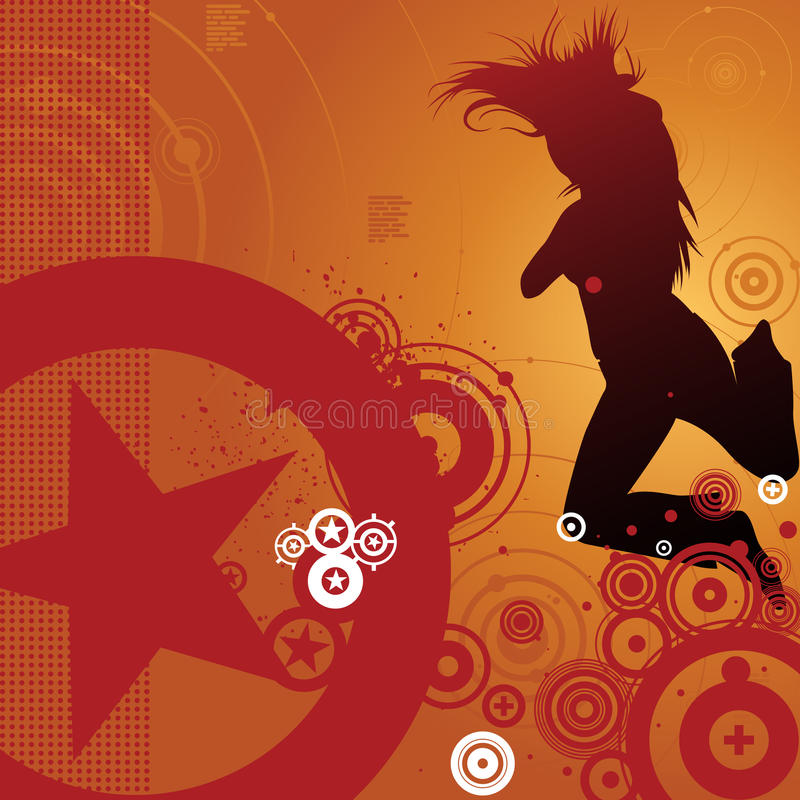 Download Dancing Woman And Retro Background Royalty Free Stock Images - Image: 12412459