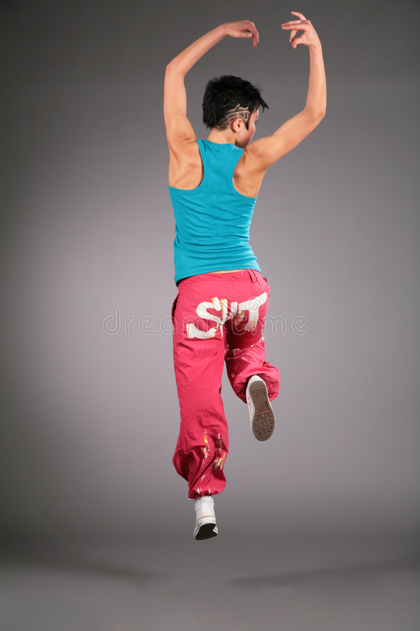 Download Dancing Woman In Sportswear  Jumps From Back Stock Image - Image of artistic, performer: 6200197