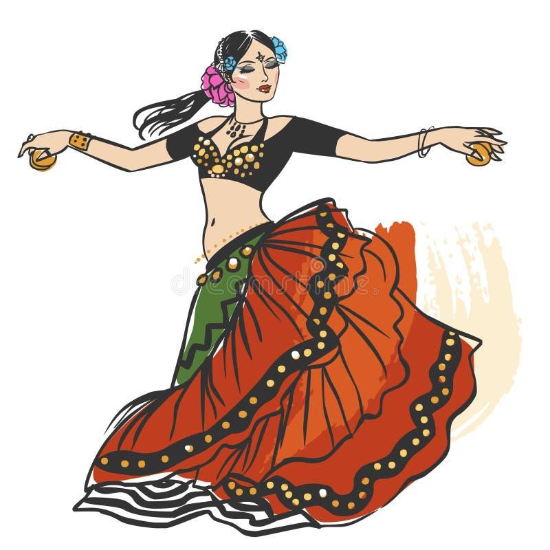 Pretty tribal dancer in motion on white background. Vector hand drawn illustration vector illustration