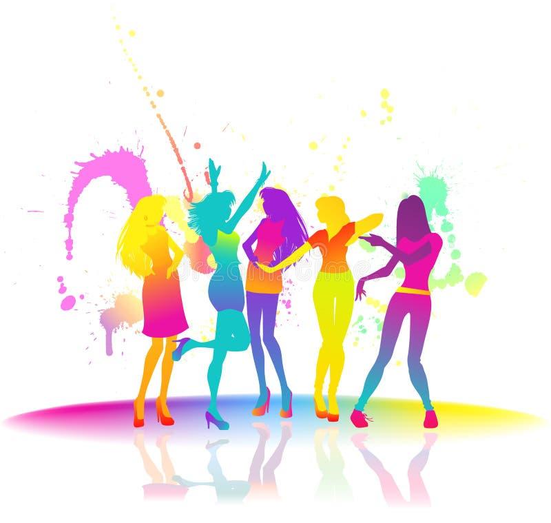 Dancing women at disco vector illustration