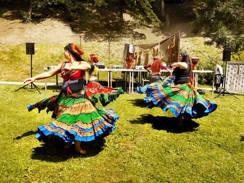 Dancing Women, Medieval Festival stock image
