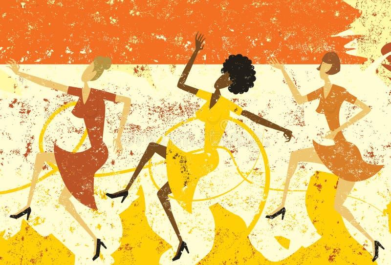 Dancing women vector illustration