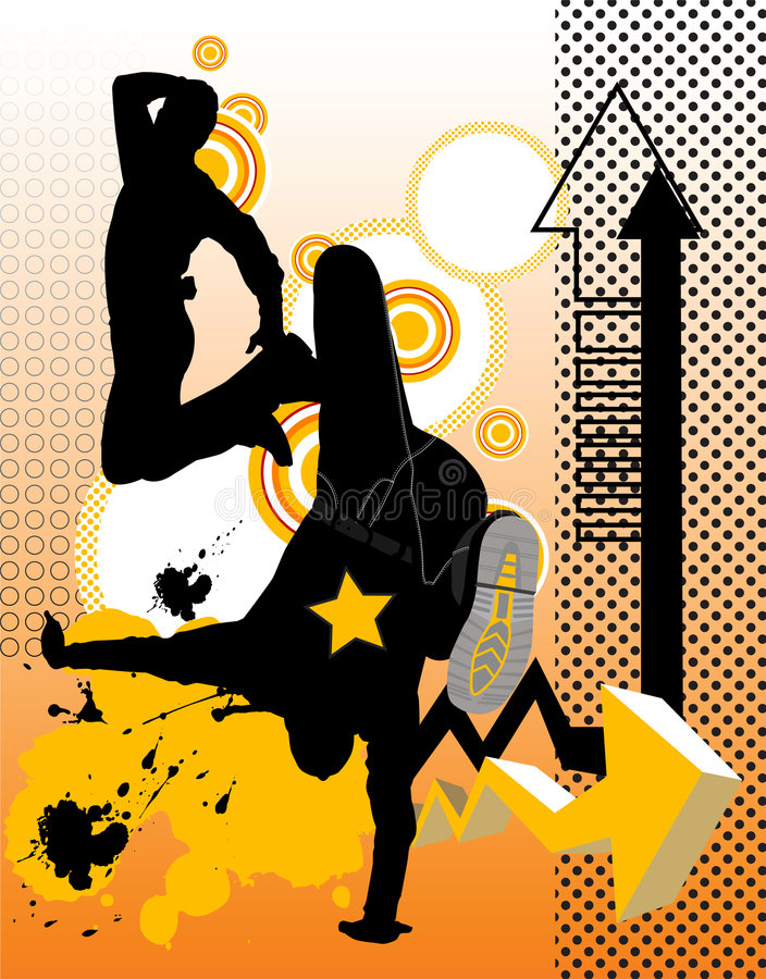 Dancing young men. Vector illustrtion with dancing young men. Music concept vector illustration