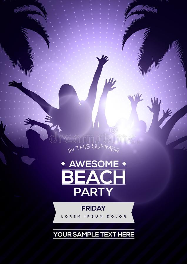 Dancing Young People Silhouettes on Summer Beach Party Flyer Template - Vector Design royalty free illustration