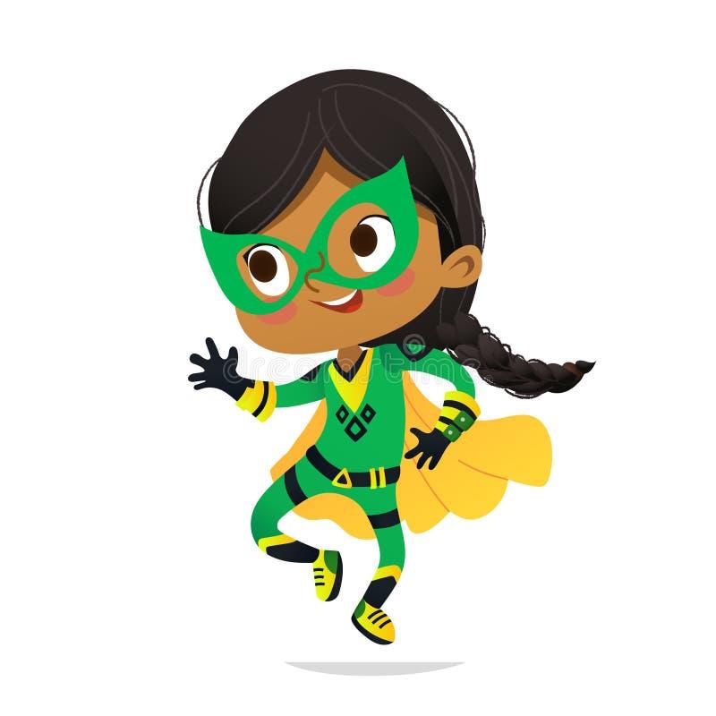 Dancingowa afroamerykańska dziewczyna jest ubranym kolorowego kostium superheroe, odizolowywającego na białym tle Kreskówka wekto ilustracja wektor