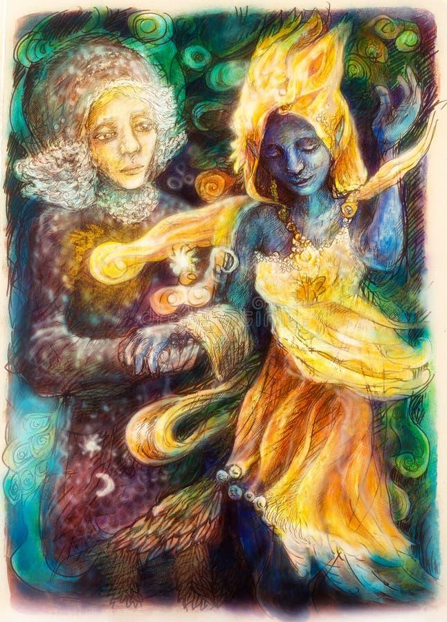 Dancingowa błękitna ducha i chimeryka kobieta, kolorowy obraz ilustracji