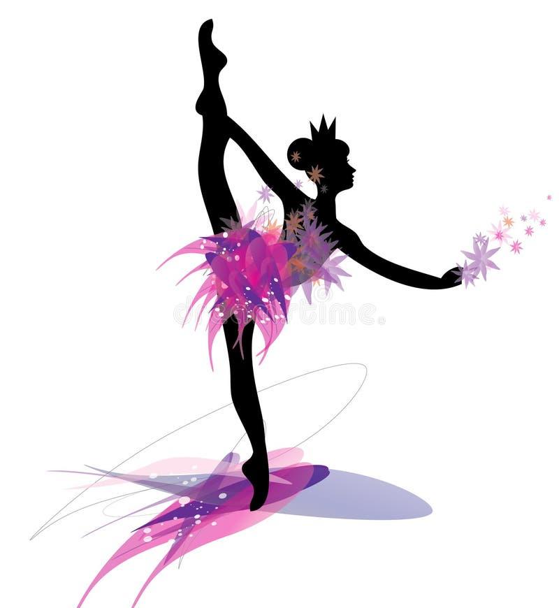 Dancingowa baletnicza kobiety sylwetka w czerni i menchiach ilustracja wektor