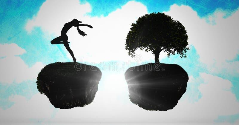 Dancingowa dama i Spławowy drzewo w surrealistycznym niebie ilustracja wektor