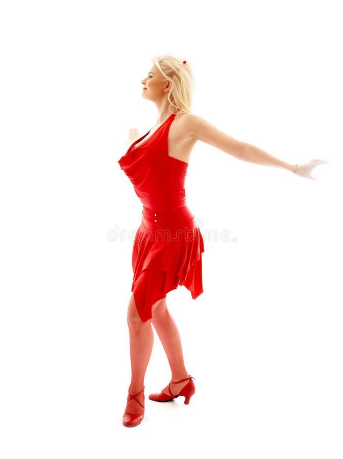 Dancingowa dama w czerwieni zdjęcia stock