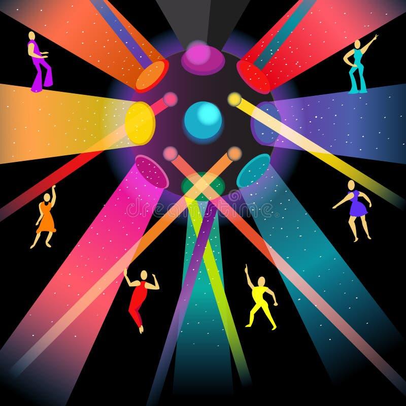Dancingowa dyskoteka w nocy przyjęciu ilustracji