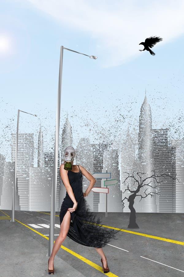 Dancingowa dziewczyna w masce gazowej obrazy royalty free