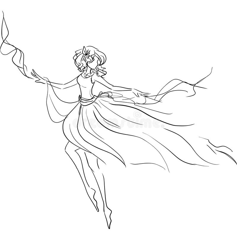 Dancingowa dziewczyna w powiewnej sukni ilustracja wektor