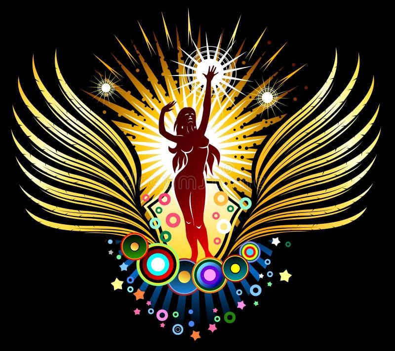dancingowa emblemata dziewczyny sylwetka ilustracja wektor