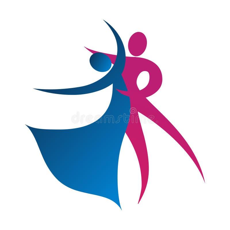 Dancingowa para wektoru ilustracja Różowy i błękitny wektorowy ikona logo royalty ilustracja