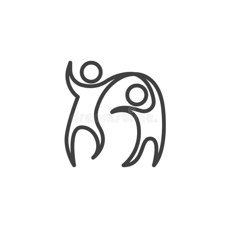 Dancingowa pary linii ikona royalty ilustracja