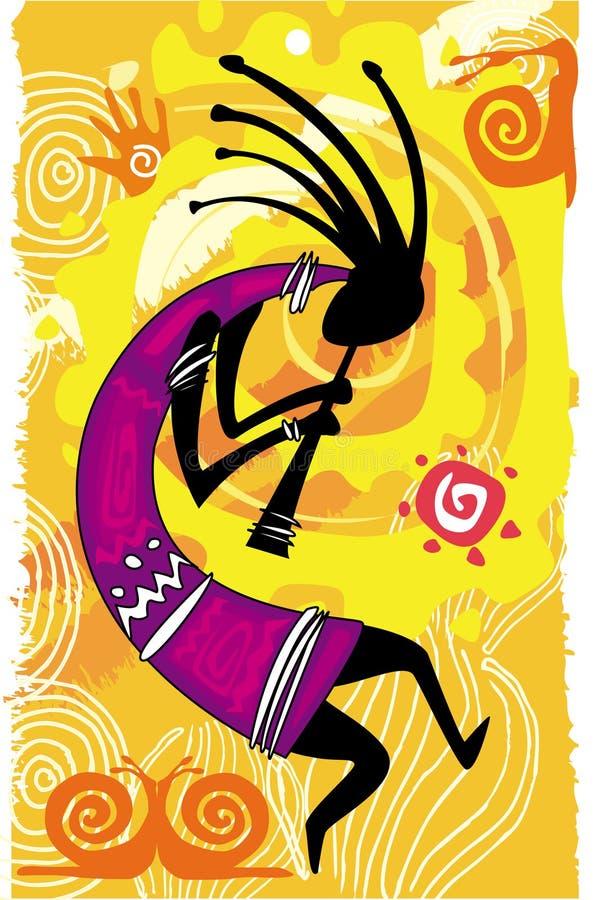 dancingowa postać kokopelli ilustracji