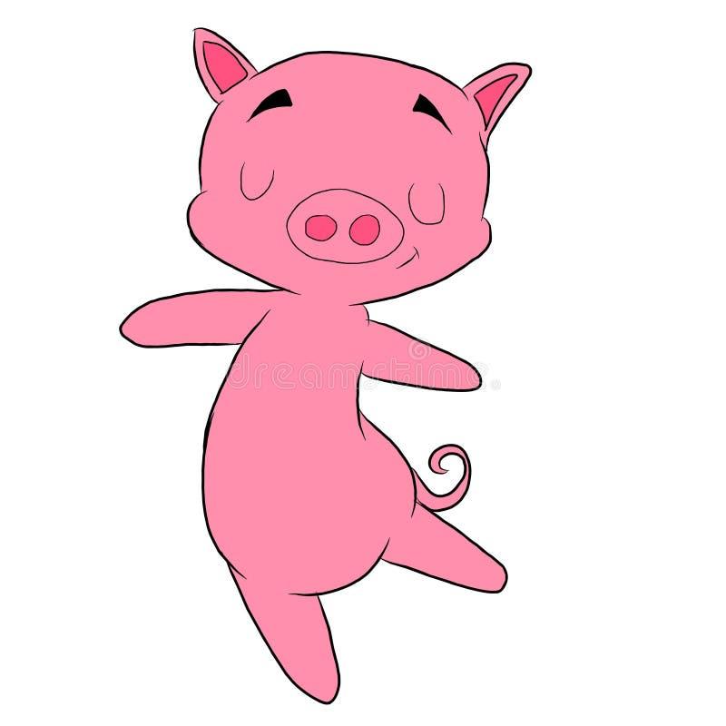 Dancingowa różowa świnia obrazy stock