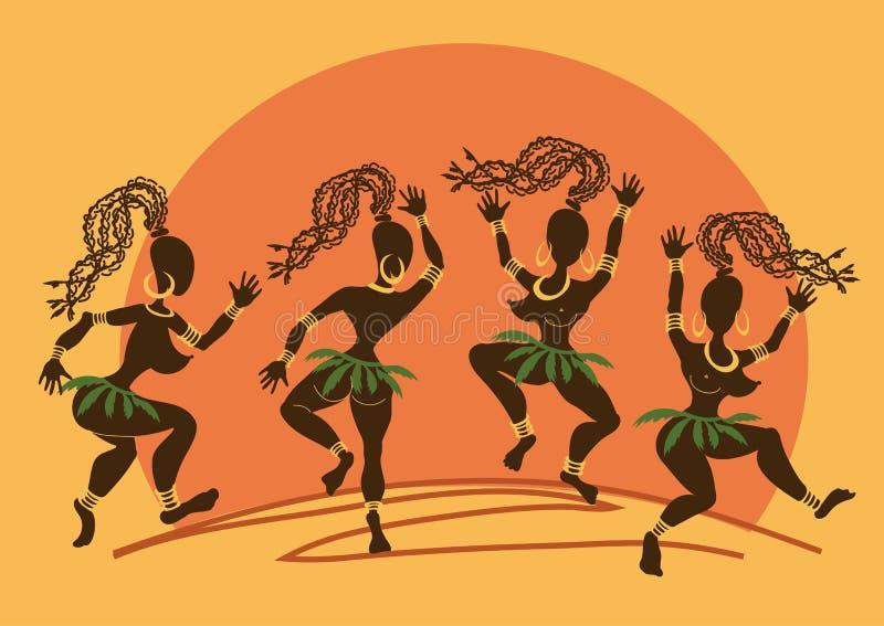 Dancingowe Afrykańskie aborygen dziewczyny przy zmierzchem ilustracja wektor