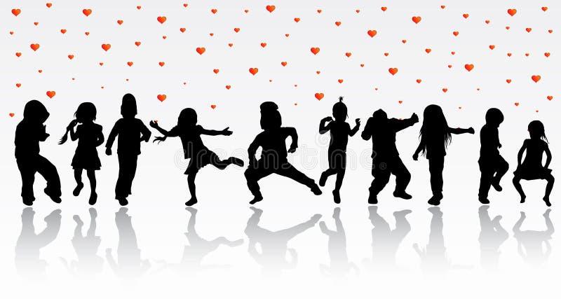 Dancingowe dziecko sylwetki royalty ilustracja