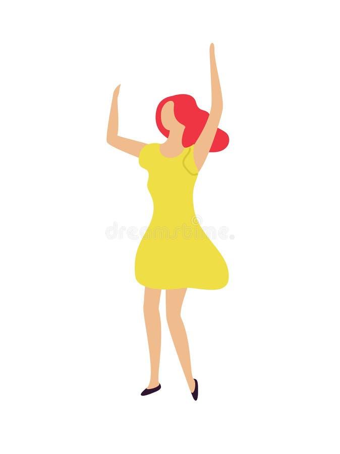 Dancingowe kobiety dźwigania ręki W górę, Clubber przy przyjęciem royalty ilustracja