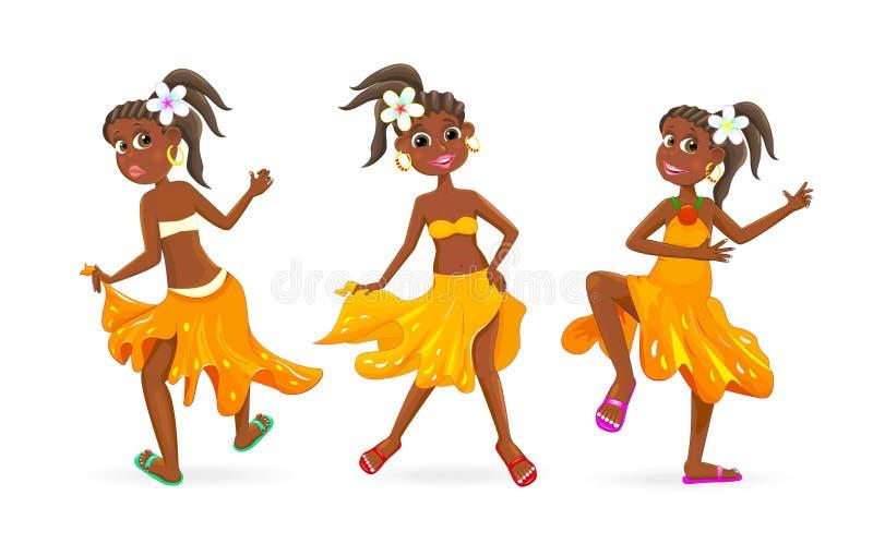 Dancingowe małe Afrykańskie dziewczyny ilustracji