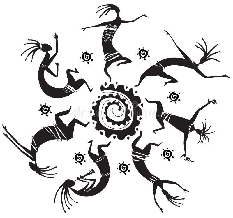 dancingowe okrąg postacie ilustracja wektor