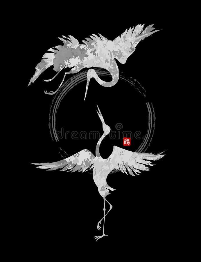 Dancingowi żurawie ilustracja wektor