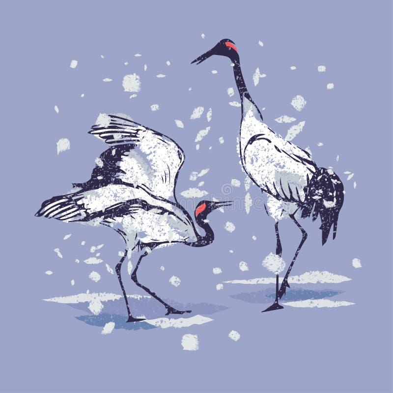 Dancingowi Japońscy żurawie w śniegu ilustracja wektor