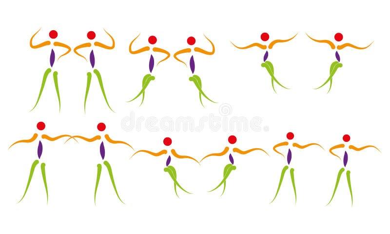 Dancingowi ludzie loga Szczęśliwego życia Cieszy się momentu tana kroka ikony ćwiczenia symbol royalty ilustracja