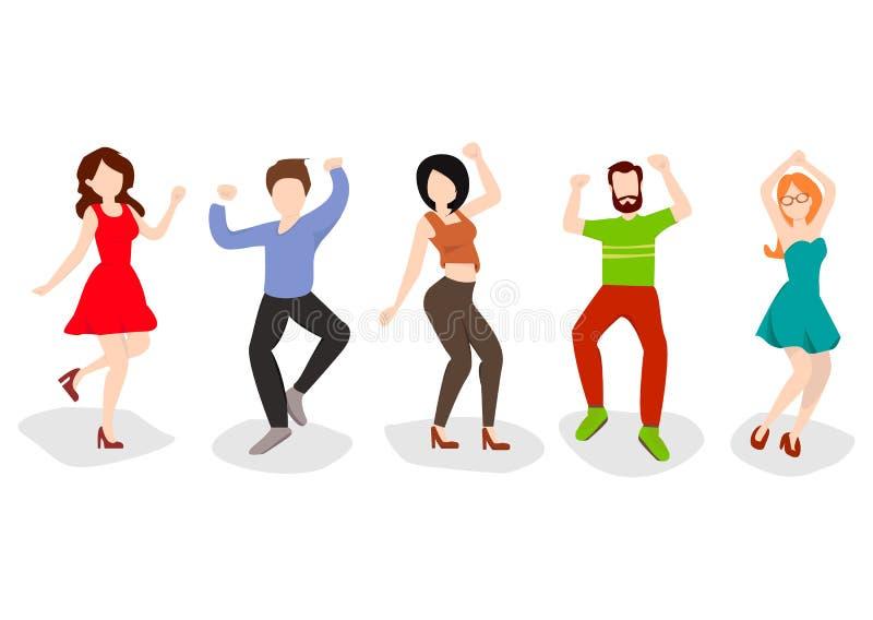 Dancingowi ludzie odizolowywający na bielu Szczęśliwi mężczyzna i kobiety ruszają się muzyka Wektorowa ilustracja w płaskim stylu ilustracji