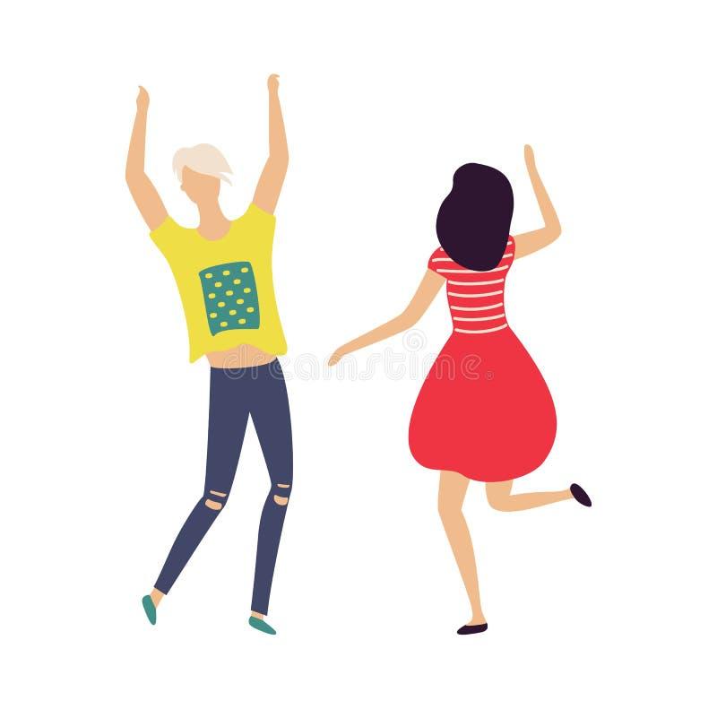 Dancingowi ludzie odizolowywaj?cy na bielu Wektorowa kresk?wka royalty ilustracja