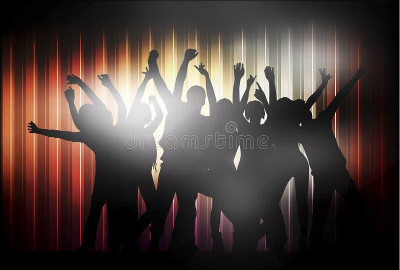 Dancingowi ludzie szczęśliwych sylwetek ilustracja wektor