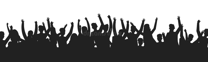 Dancingowi ludzie tłum sylwetek Koncertowej widowni przedstawienia sceny cienia prywatka kontur Wektorowa wydarzeń fan grupa royalty ilustracja