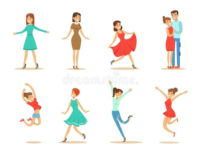 Dancingowi ludzie ustawiają, młode kobiety i par dancingowe wektorowe ilustracje na białym tle ilustracji