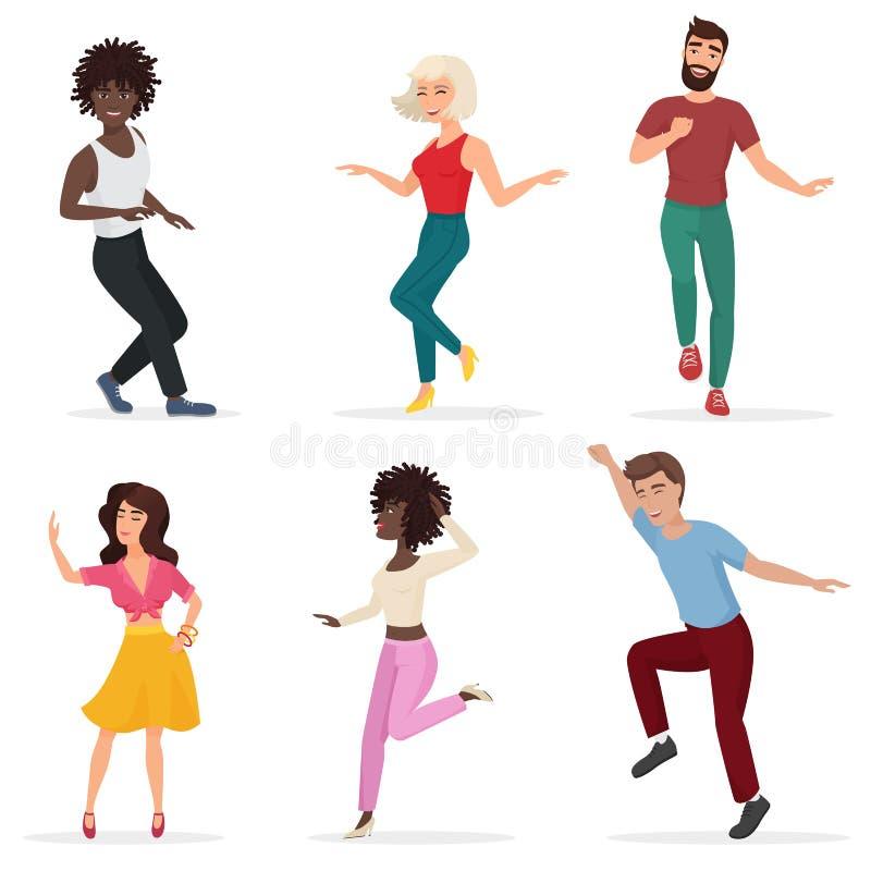 Dancingowi młodzi ludzie Szczęśliwi wielo- etyka mężczyzna, kobiety i ruszają się muzyka Wektorowa kreskówki mieszkania ilustracj ilustracji
