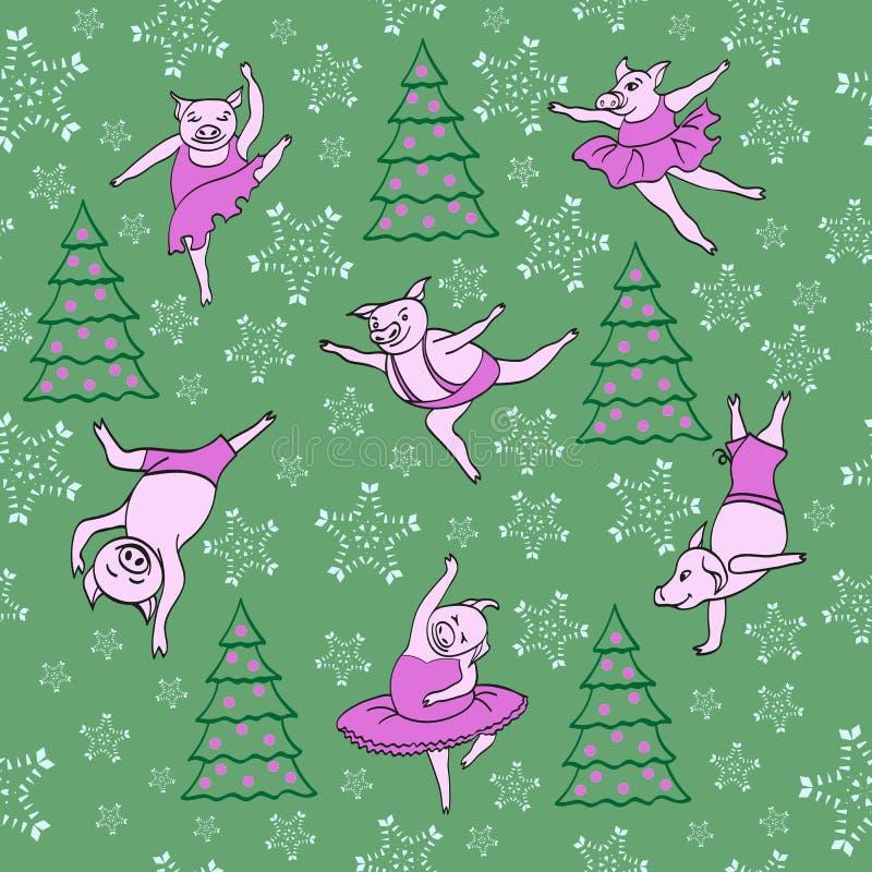 Dancingowi prosiaczki Bożenarodzeniowa opowieść wzór ilustracja wektor