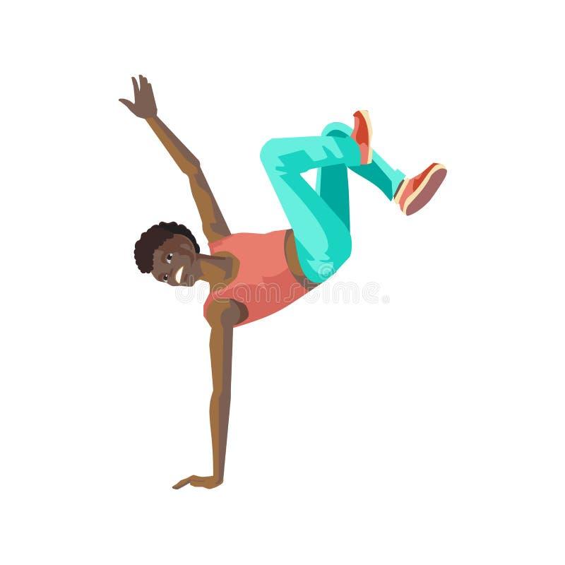 Dancingowy facet, stoi na ręce, tanczy w stylowym przerwa tanu ilustracji