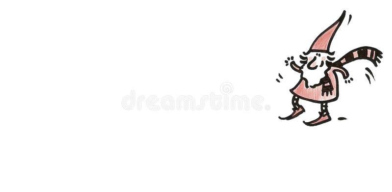Dancingowy gnom z szalikiem ilustracji
