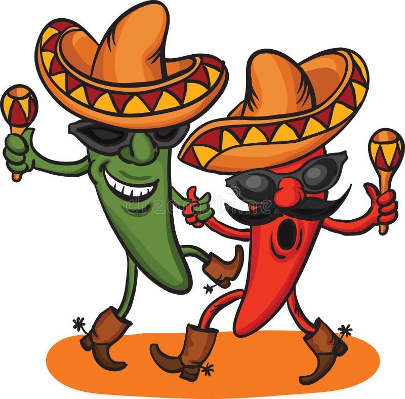 dancingowy kreskówka meksykanin pieprzy dwa ilustracji