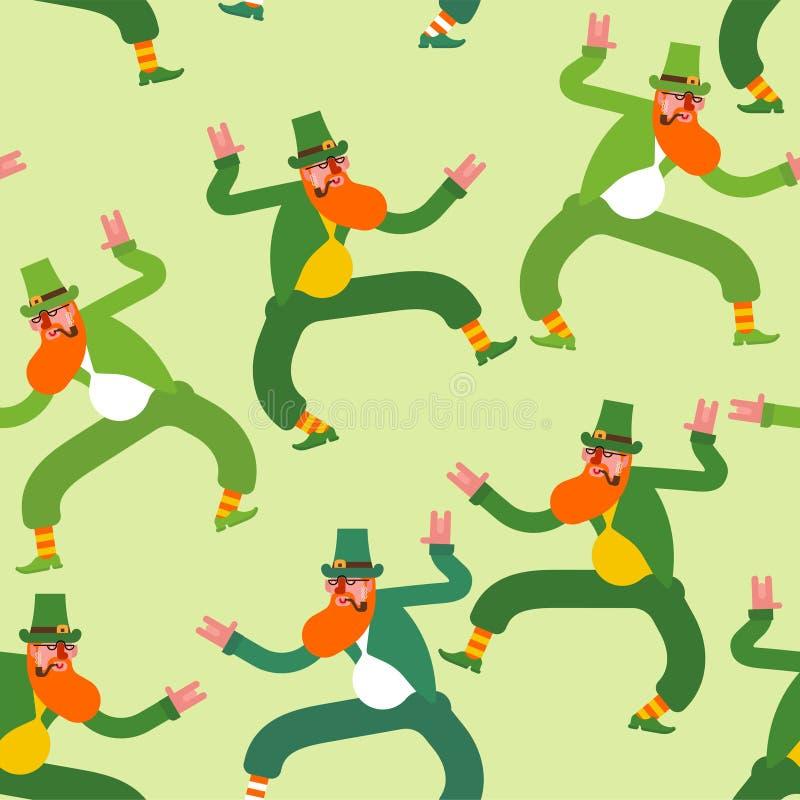 Dancingowy Leprechaun wzór bezszwowy Irlandzki tło stPatrick ` s dzień Wakacje w Irlandia royalty ilustracja