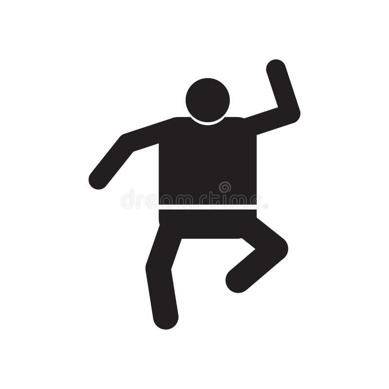 Dancingowy mężczyzna ikony wektoru znak i symbol odizolowywający na białym tle, Tanczy mężczyzny logo pojęcie ilustracja wektor