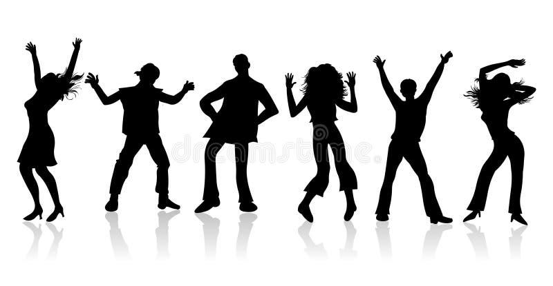 Dancingowy przyjęcie Dancingowi ludzie sylwetki illustrati royalty ilustracja