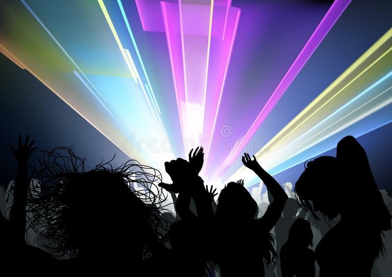 Dancingowy tłumu i dyskoteki światła przedstawienie ilustracja wektor