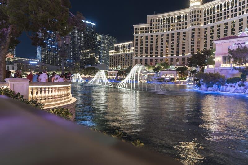 Dancingowy Wodnej fontanny pokaz przy Bellagio Las Vegas obrazy stock
